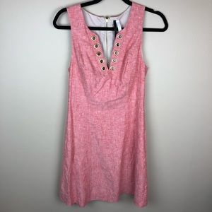 Kensie XS pink/red linen dress with gold accents